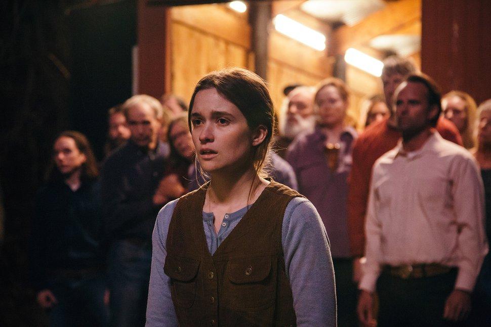 (Julius Chiu   courtesy Sundance Institute) Alice Englert, center, and Walton Goggins, right, star in