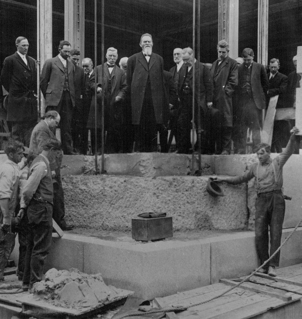 Tribune file photo Laying cornerstone of LDS Church administration building in 1914. Apostle Francis M.Lyman (center) is praying. Don Carlos Young, architect, stands where stone is to be placed. On top, left to right, are Alfred Ransom (behind pole), C.A.Carlson, David A.Smith, John Lawrence (in background), Andrew H.Jensen, Apostle Lyman, Heber J.Grant, Anthon H.Lund, Harold Jensen, A.William Lund and Fielding K.Smith.