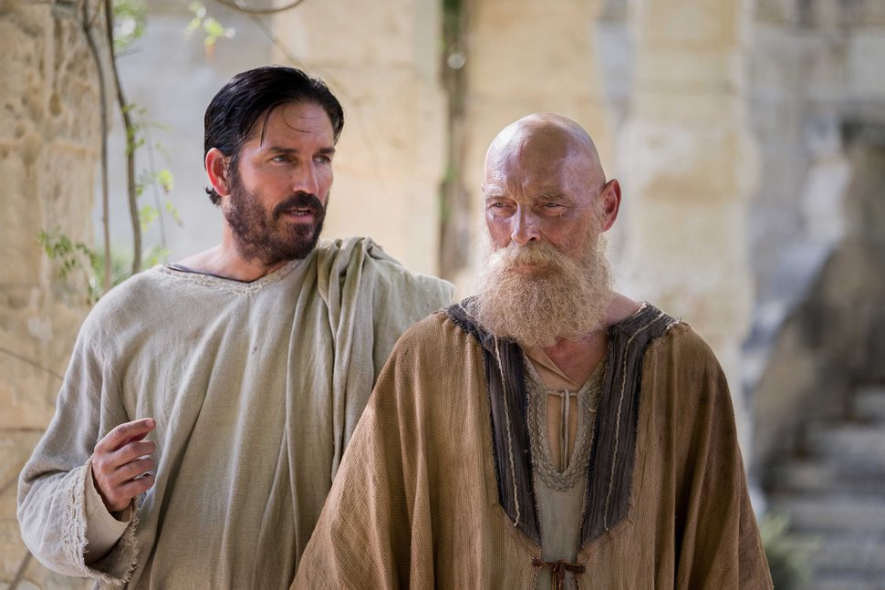 (Courtesy Columbia Pictures) Jim Caviezel, left, plays Luke and James Faulkner is his colleague Paul in the biblical drama