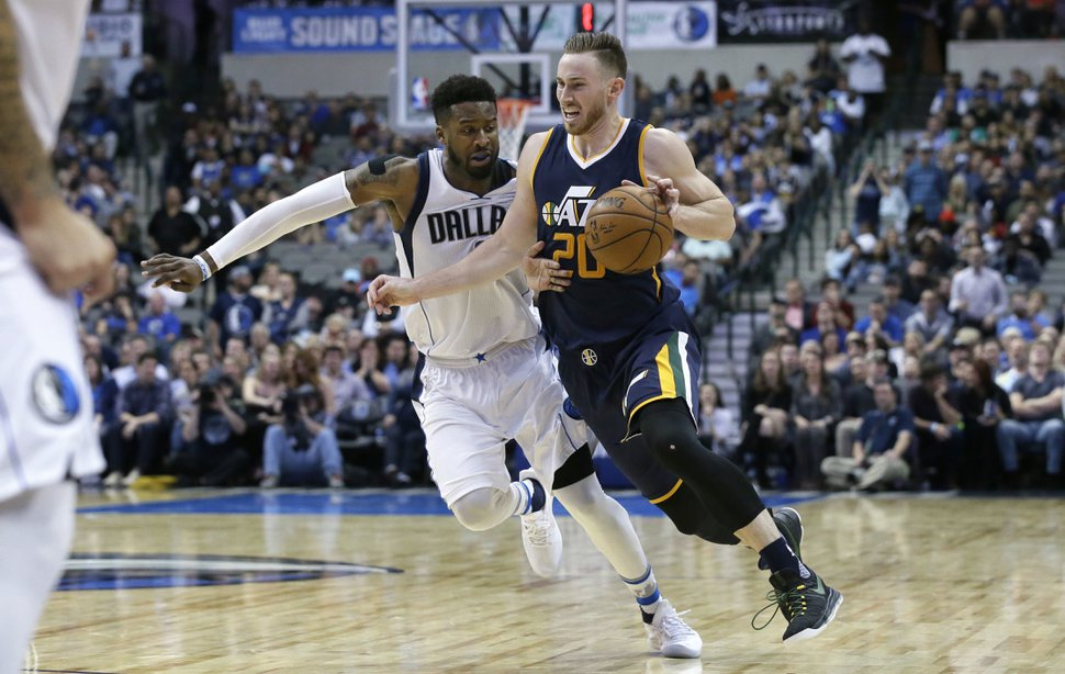 Utah Jazz forward Gordon Hayward (20) drives against Dallas Mavericks guard Wesley Matthews (23) during the second half of an NBA basketball game in Dallas, Friday, Jan. 20, 2017. The Jazz won in overtime, 112-107. (AP Photo/LM Otero)