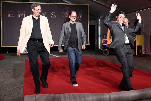 Ricky Kirshner, from left, Glenn Weiss, Stephen Colbert and Jack Sussman participate in the 2017 Primetime Emmy Red Carpet Rollout at the Microsoft Theater on Tuesday, Sept. 12, 2017, in Los Angeles. (Photo by Richard Shotwell/Invision/AP)