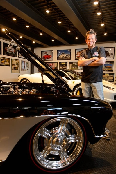 (Trent Nelson | The Salt Lake Tribune) Dave Kindig, owner of Kindig It Design and the star of the TV series Bitchin' Rides, standing with a '57 Chevrolet Corvette and a Ferrari 458 Italia at his shop in Salt Lake City, Wednesday December 27, 2017.