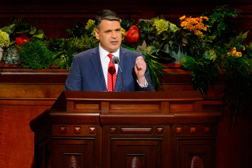 (Trent Nelson   The Salt Lake Tribune) Juan Pablo Villar speaks during the afternoon session of the189th Annual General Conference of The Church of Jesus Christ of Latter-day Saints in Salt Lake City on Sunday, April 7, 2019.