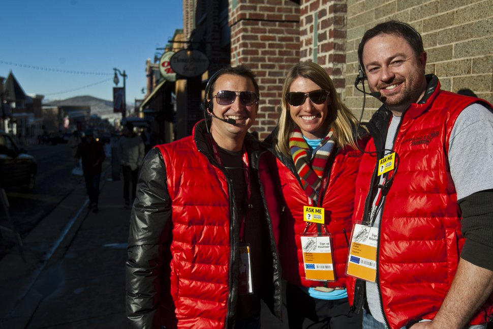 (Chris Detrick   Tribune file photo) Volunteers John Moody, Melinda Breiholz and Clayton Carter during the 2013 Sundance Film Festival in Park City.
