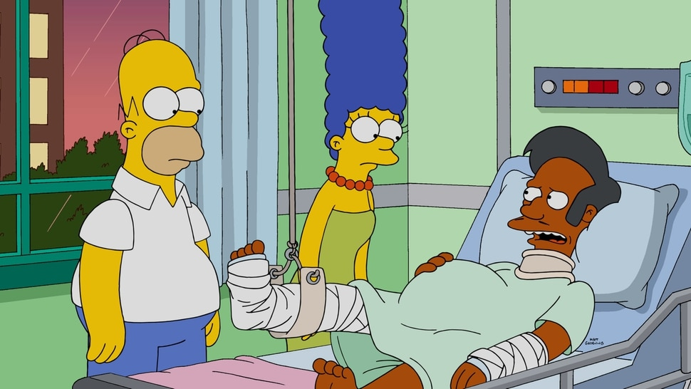 "(Photo courtesy of Fox) Homer, Marge and Apu in ""The Simpsons"" episode ""Much Apu About Something."""