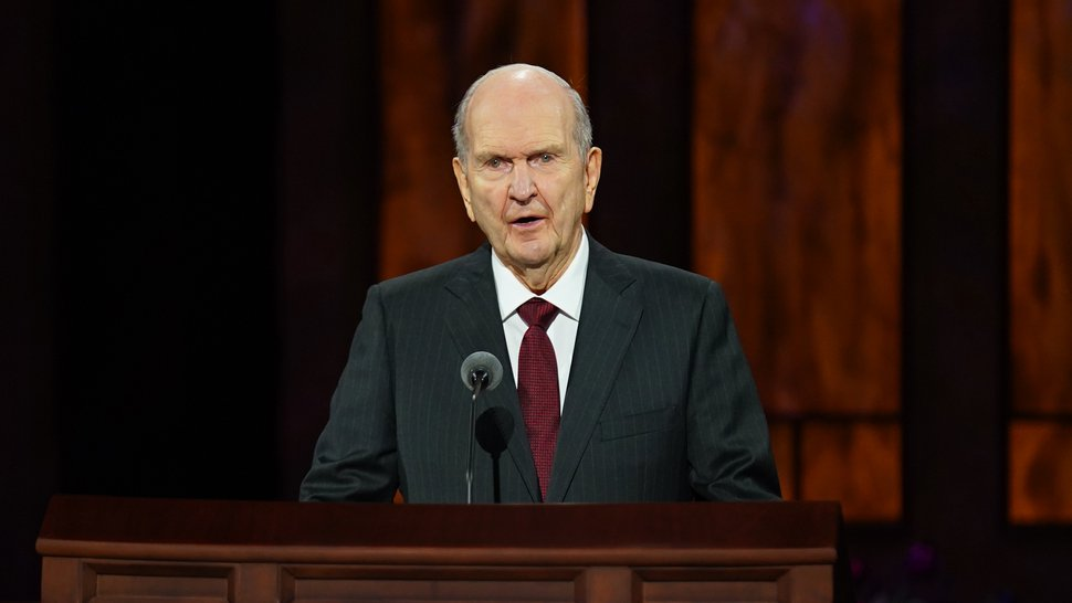 (Photo courtesy of The Church of Jesus Christ of Latter-day Saints) President Russell M. Nelson speaks at the Sunday morning session of General Conference on Oct. 4, 2020.