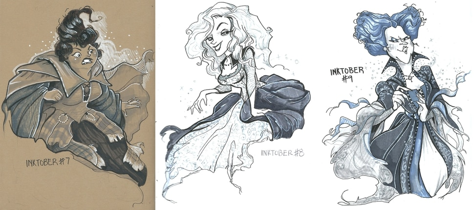 (Hollie Hibbert | images courtesy of the artist) Provo artist Hollie Hibbert drew these images — sisers Mary, Sarah and Winifred Sanderson, form Hocus Pocus — in 2017 for Inktober, a monthlong challenge for artists to draw an image a day for a month.