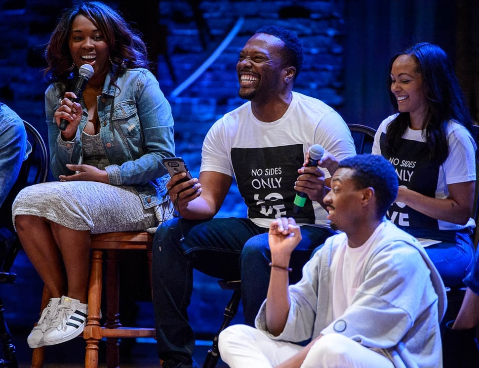 (Trent Nelson | The Salt Lake Tribune) Members of the touring cast of Hamilton answer questions from students in the Hamilton Education Project, or EduHam, at the Eccles Theater in Salt Lake City, Friday May 4, 2018.