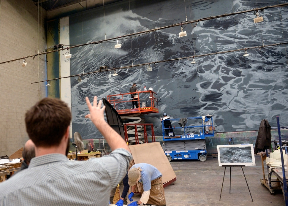 (Al Hartmann | The Salt Lake Tribune) Set construction for stage and backdrop is underway in early December for Utah Opera's new production of Moby-Dick, which will play in January 2018.
