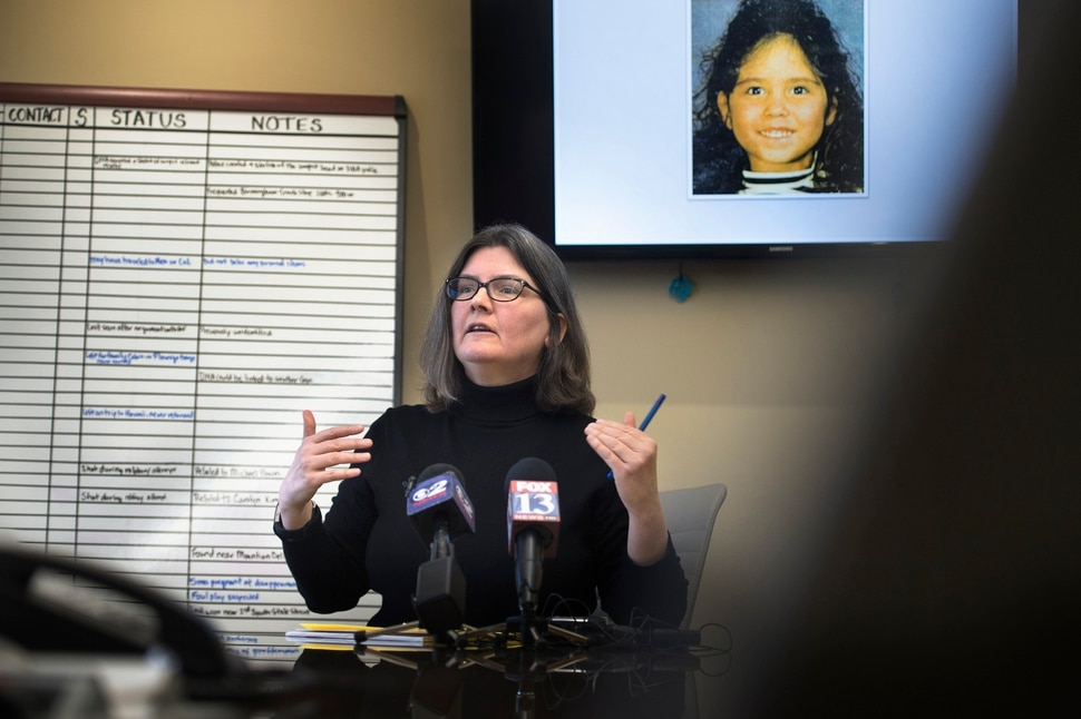 (Scott Sommerdorf | The Salt Lake Tribune) Utah Cold Case Coalition co-founder Karra Porter speaks about proposed legislation, nicknamed Rosie's Bill, that would lobby for a centralized database for all cold cases in the state, Thursday, January 18, 2018. The photo above Porter is that of six year old Rosie Tapia, who was murdered 23 years ago. Her case remains unsolved.