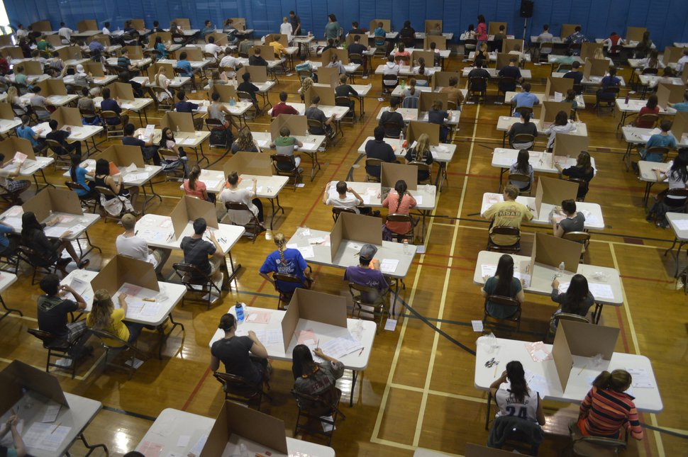 (Courtesy Granite School District) Utah high school students taking Advanced Placement exams at Skyline High School, in 2013. Data released Tuesday showed the state's students performed better than their national peers, both in taking and passing AP tests in 2017.