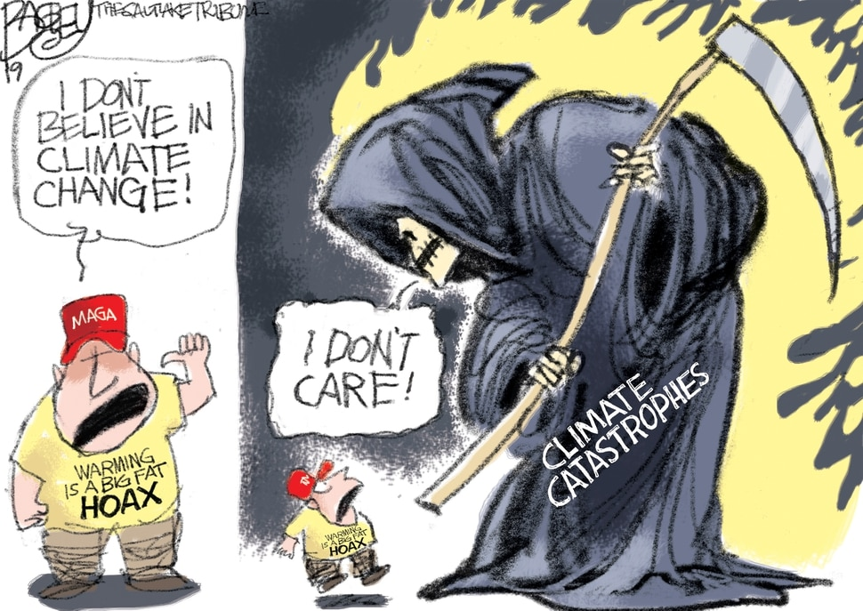 "(Pat Bagley | The Salt Lake Tribune) This cartoon, titled ""Hot Take,"" appears in the Salt Lake Tribune on Friday, June 7, 2019."
