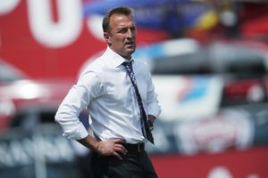 Orlando City head coach Jason Kreis looks on against the Colorado Rapids in the first half of an MLS soccer match Sunday, April 29, 2018, in Commerce City, Colo. (AP Photo/David Zalubowski)