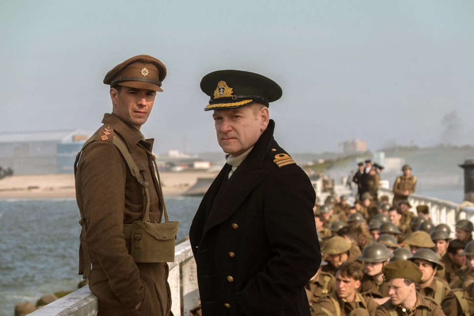 This image released by Warner Bros. Pictures shows James D'Arcy, left, and Kenneth Branagh in a scene from Dunkirk. The film was nominated for an Oscar for best picture on Tuesday, Jan. 23, 2018. The 90th Oscars will air live on ABC on Sunday, March 4. (Melissa Sue Gordon/Warner Bros. Pictures via AP)