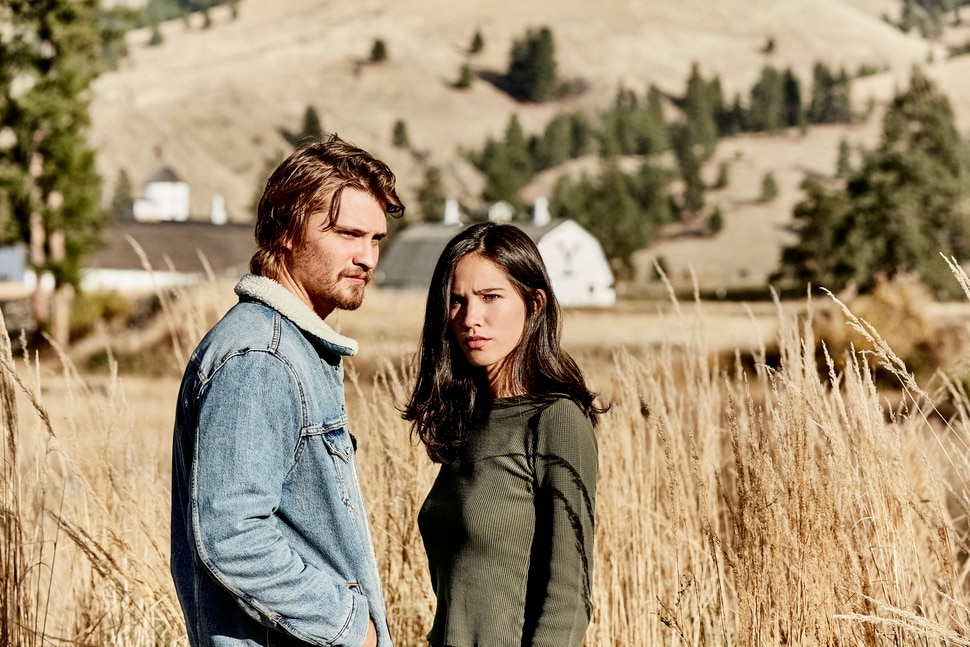 "(Photo: Paramount Network) Luke Grimes as Kayce Dutton and Kelsey Asbille as Monica Long in ""Yellowstone."""