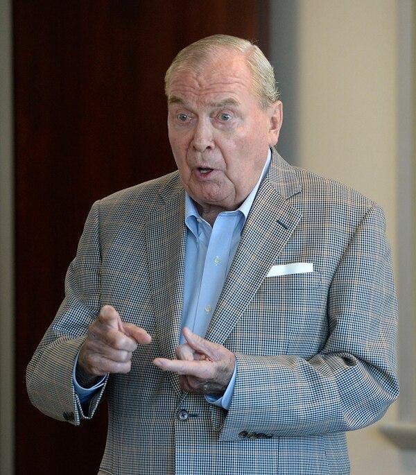 Al Hartmann | The Salt Lake Tribune Jon Huntsman Sr., publisher emeritus, speaks to staff members of the Salt Lake Tribune Monday August 22 about challenges and upcoming changes for the news organization.