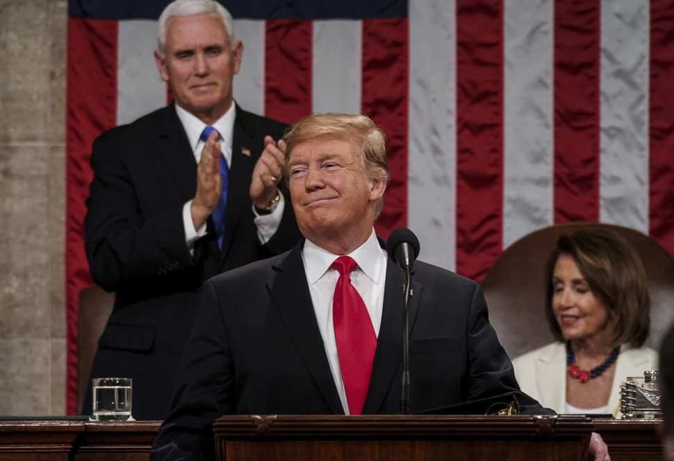 (Doug Mills | The New York Times via AP Pool file photo ) President Donald Trump gives his State of the Union address to a joint session of Congress on Feb. 5, 2019.