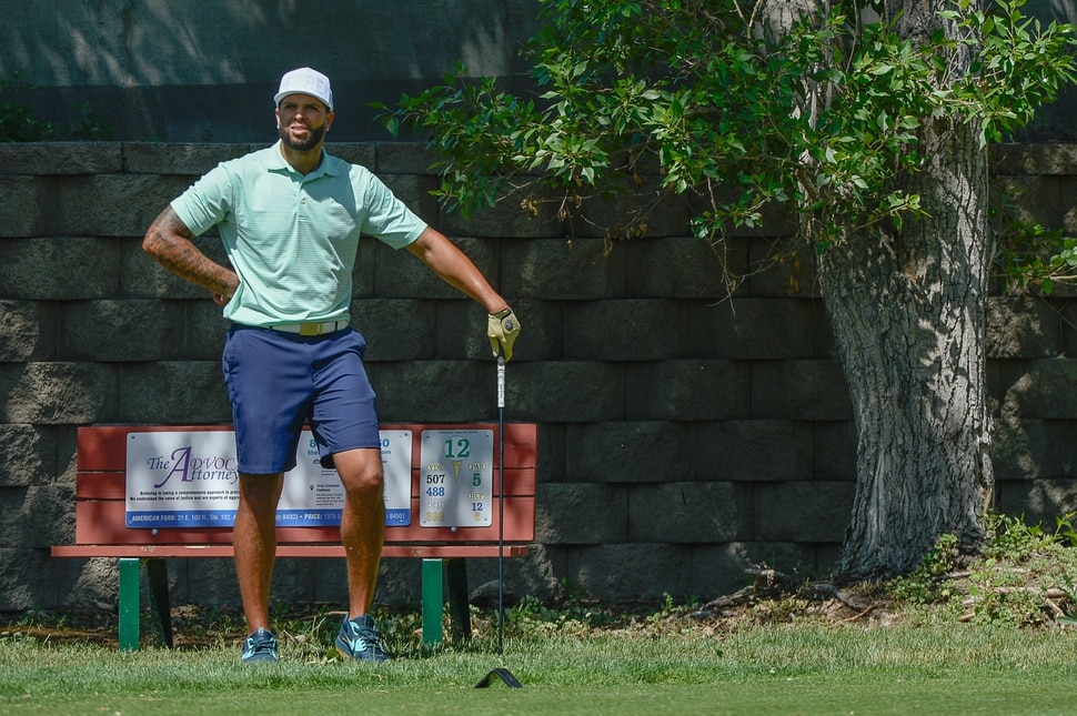 (Francisco Kjolseth | Francisco Kjolseth) Former Jazz star Deron Williams maintains a home in Utah, even after his messy exit from the team seven years ago. On Thursday, June 7, 2018, he played in the Provo Open, a three day tournament for local pros and top amateurs at the East Bay Golf Course in Provo.