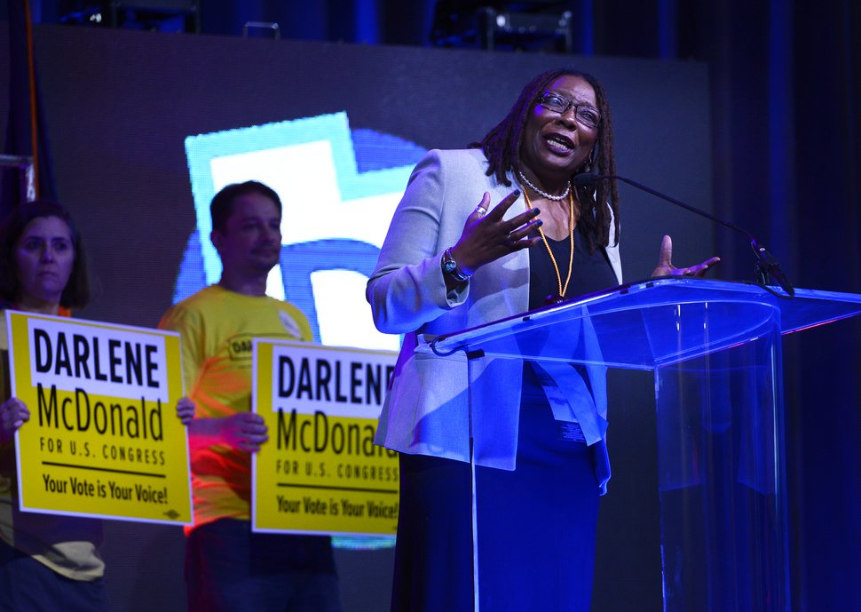 (Scott Sommerdorf | The Salt Lake Tribune) Candidate Darlene McDonald speaks at the Democratic convention, Saturday, April 28, 2018.