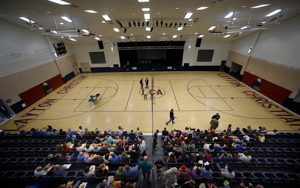 (Scott Sommerdorf | The Salt Lake Tribune) The crowd was still filing in for Congressman Rob Bishop's town hall meeting held at Layton Christian Academy in Layton, Utah, Friday, August 25, 2017.