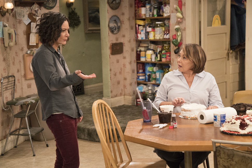 (Associated Press via Greg Gayne/ABC)This image released by ABC shows Sara Gilbert, left, and Roseanne Barr in a scene from