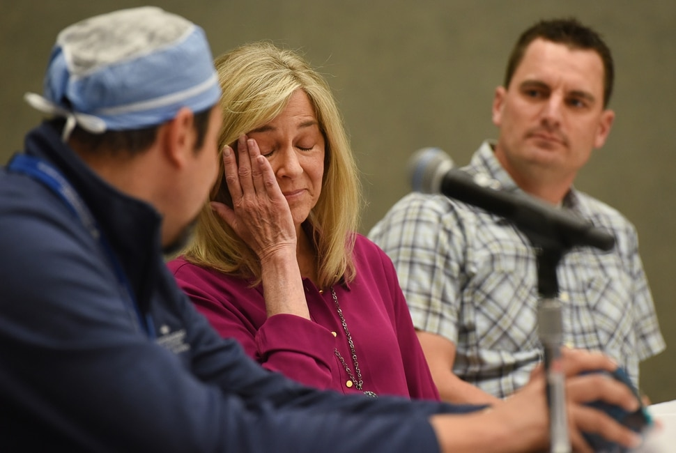 (Francisco Kjolseth | The Salt Lake Tribune) Gwen Finlayson becomes emotional as she describes the ultimate Mother's Day Gift when her son Brandon, in background, donated part of his liver to her in early February. Although the two like to joke, receiving the gift of life from her son in a rare surgery at Intermountain Medical Center, was not an easy gift for her to accept. This is the first ever left lee living liver transplant in Utah.