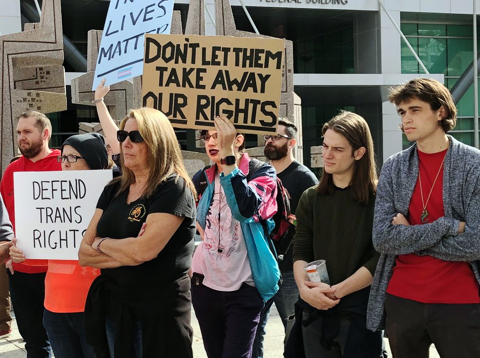 (Taylor Stevens   The Salt Lake Tribune) Protesters at a rally outside the Wallace F. Bennett Federal Building in downtown Salt Lake City on Saturday oppose recently reported efforts from the Department of Health and Human Services to define gender as purely biological under federal law.