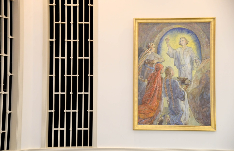"""(Francisco Kjolseth   The Salt Lake Tribune) The LDS Church plans to remove three original paintings by LDS artist Minerva Teichert from an east Salt Lake City meetinghouse, including """"Three women encountering an angel at the tomb of Joseph of Arimathaea,"""" and some local members are concerned."""