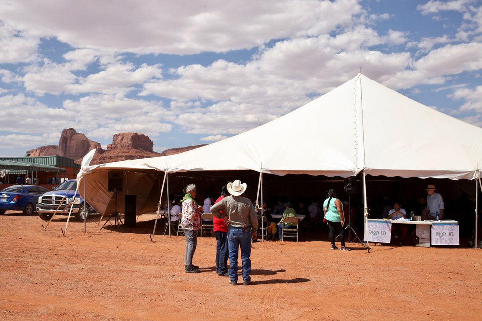 (Jeremy Miller | The Guardian) Voters are registered in Oljato, Utah, at the Navajo Welcome Center.