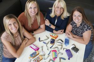 (Leah Hogsten   The Salt Lake Tribune) Diane Carver and her three daughters, from left, Kimi Jensen, Kristy McClellan and Katie Mecham design and sell pocket knives for women under the name Brighten Blades, Aug. 26, 2021.