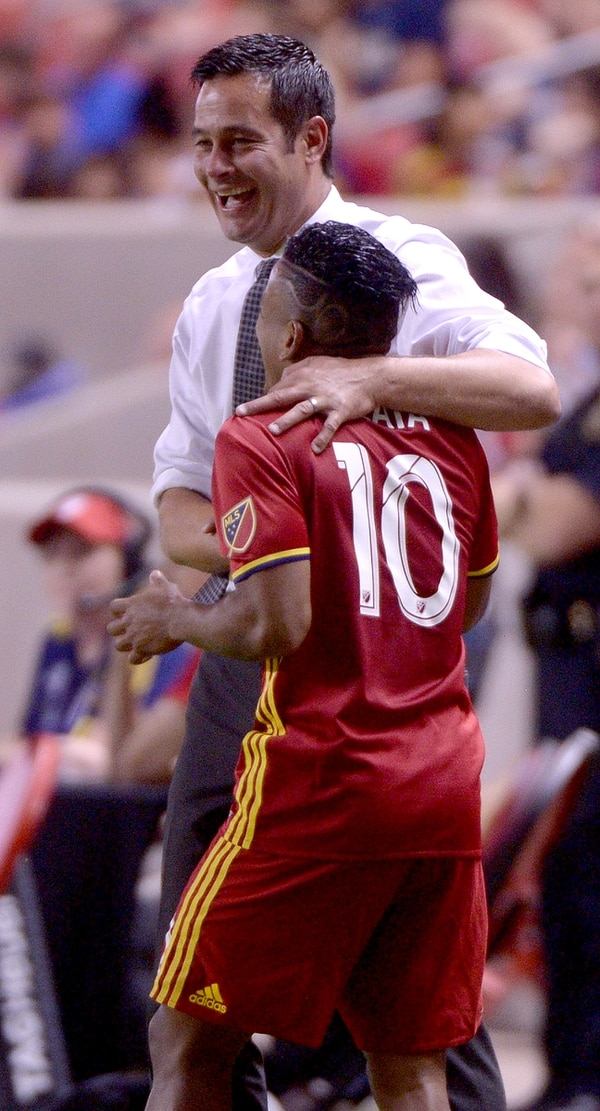 (Leah Hogsten | The Salt Lake Tribune) Real Salt Lake head coach Mike Petke celebrates the win with Real Salt Lake forward Joao Plata (10). Real Salt Lake defeated the Colorado Rapids 4-1 for the Rocky Mountain Cup at Rio Tinto Stadium, Saturday, August 26, 2017.