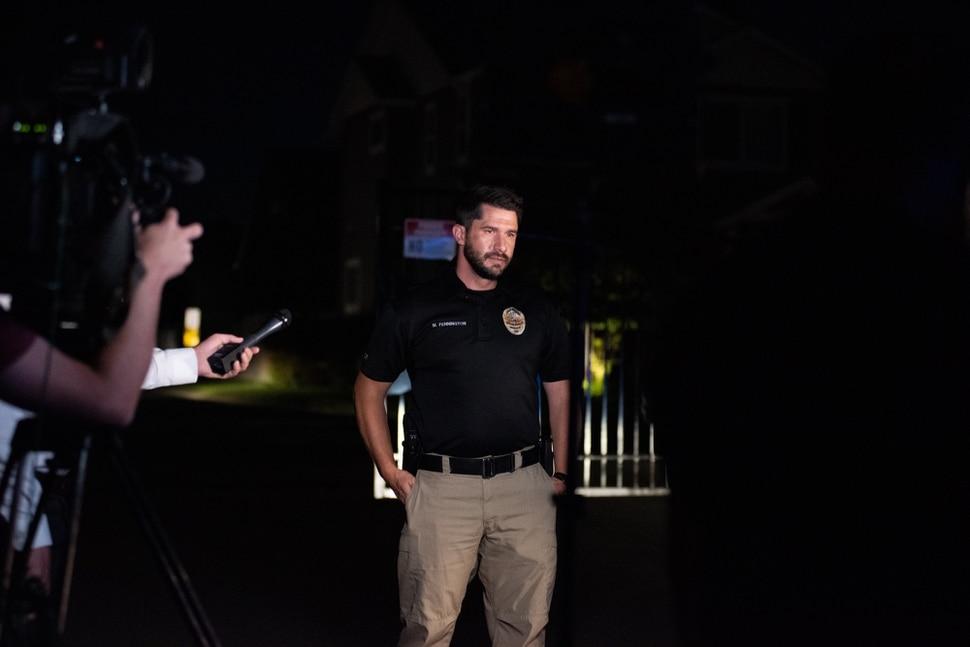 vSouth Jordan Lt. Matt Pennington talks to the media on Friday, July 24 after a police team detonated explosive materials found inside a home.