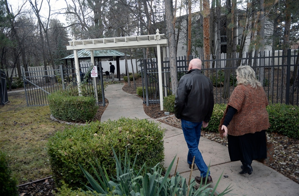 (Al Hartmann | The Salt Lake Tribune) People tour the outdoor gardens where patients can meditate and do activities at a new Odyssey House treatment facility opened on Thursday, Jan. 11 at 3944 S. 400 E. in Millcreek.