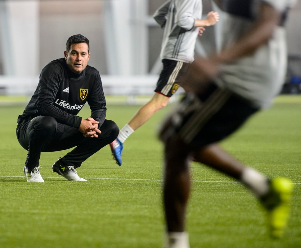 (Steve Griffin | The Salt Lake Tribune) RSL head coach Mike Petke runs practice with his players at the new Zions Bank Real Academy indoor facility in Herriman Tuesday January 23, 2018.
