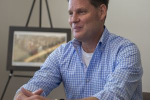 (Steve Griffin / The Salt Lake Tribune) David Robinson, then a Republican candidate for Salt Lake County mayor, talks with the Salt Lake Tribune editorial board in 2017. Robinson, formerly an unofficial communication director for the county Republican Party, was accused by more than a half dozen women of harassment, name-calling, body shaming and other inappropriate behavior.