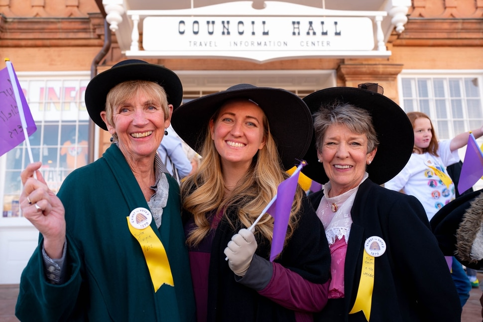 (Trent Nelson | The Salt Lake Tribune) Bette Hubrich, Kate Hubrich, and Marlue Perkins at a remembrance walk organized by Better Days 2020 in Salt Lake City on on Friday, Feb. 14, 2020 marks the 150th anniversary of Seraph Young casting her historical vote in Utah.