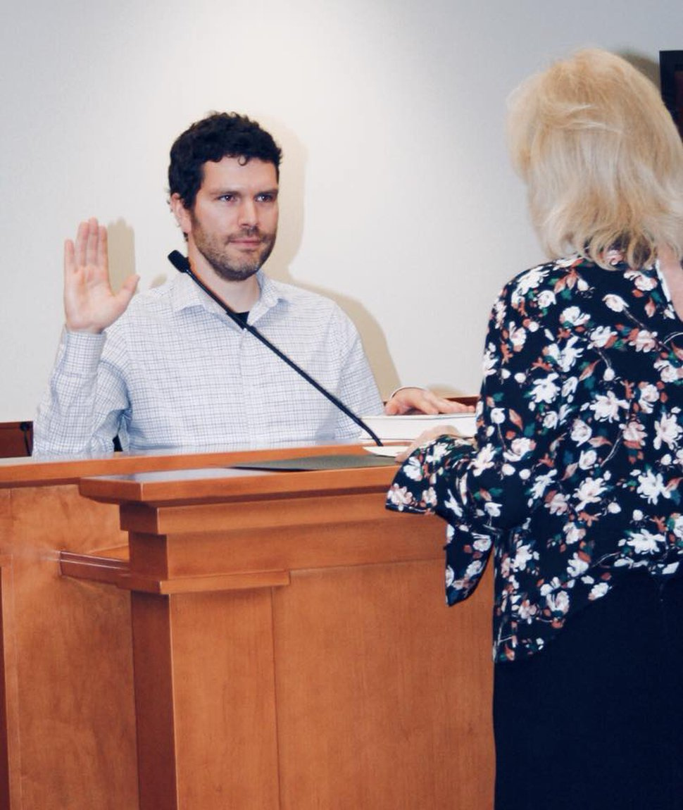(Photo courtesy of Dustin Gettel) Dustin Gettel, elected to Midvale's City Council in November, was sworn into office this week.