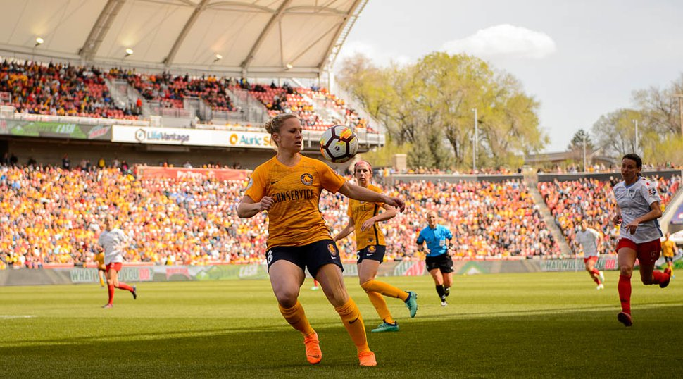 (Trent Nelson | The Salt Lake Tribune) Utah Royals FC hosts the Chicago Red Stars, at Rio Tinto Stadium in Sandy, Saturday April 14, 2018. Utah Royals FC forward Amy Rodriguez (8).