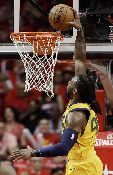 Utah Jazz forward Jae Crowder dunks during the first half in Game 1 of an NBA basketball second-round playoff series against the Houston Rockets, Sunday, April 29, 2018, in Houston. (AP Photo/Eric Christian Smith)
