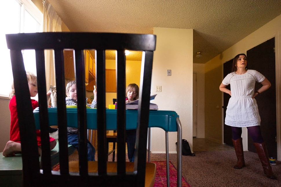 (Trent Nelson | The Salt Lake Tribune) Michelle Densley serves pancakes her children, Eva, Winston, and Edison at her apartment in Salt Lake County on Monday April 8, 2019.