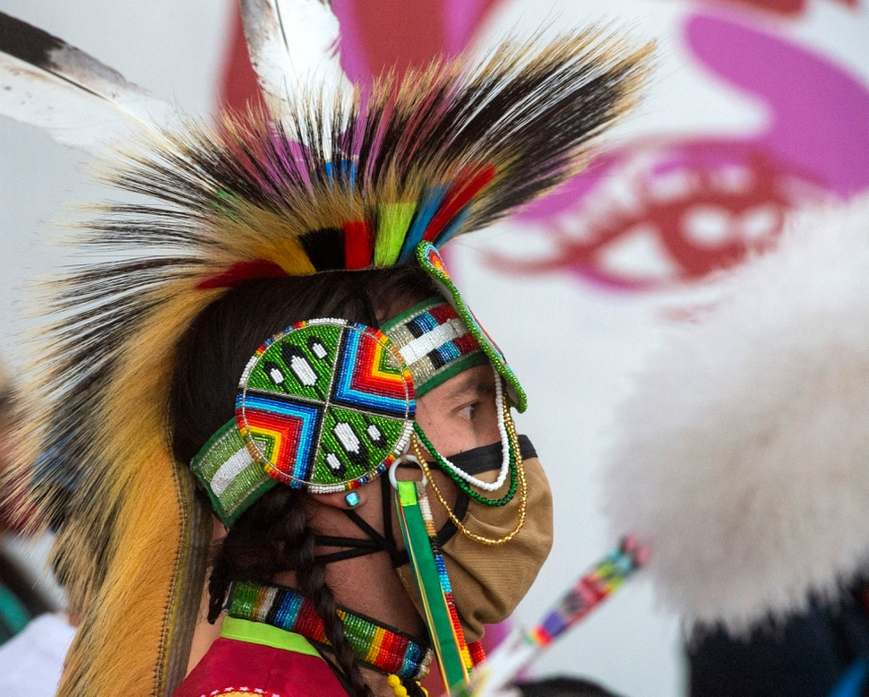 (Rick Egan   The Salt Lake Tribune) Chase Hobson waits for his turn to dance at the Indigenous Peoples Day celebration, on Monday, Oct. 12, 2020. Chase Hobson