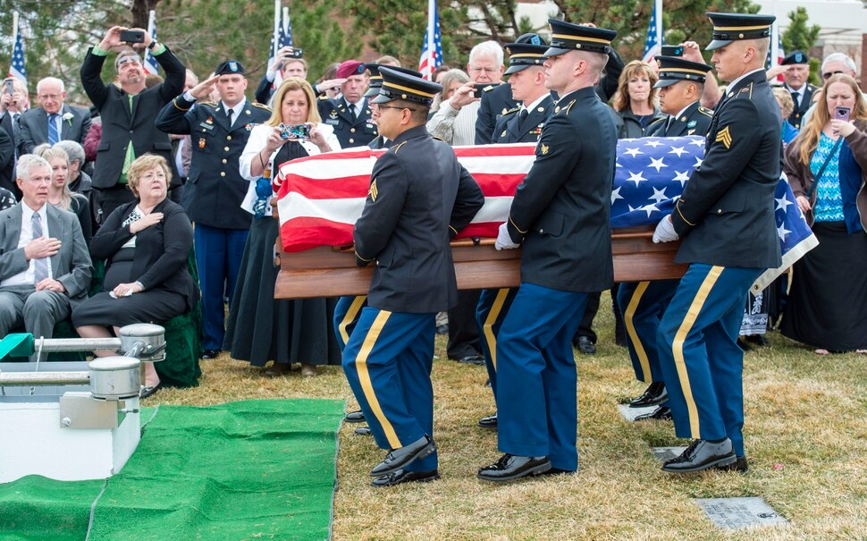 (Rick Egan | The Salt Lake Tribune) The Honor Guard brings the casket to the gravesite of 2nd Lt. Lynn W. Hadfield, who was killed during the Second World War, at Veterans Memorial Park, in Bluffdale. Thursday, March 21, 2019.