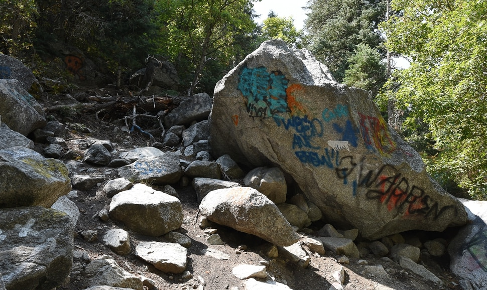(Francisco Kjolseth | The Salt Lake Tribune) Graffiti has proliferated in lower Little Cottonwood Canyon, where vandals, often wielding cans of fluorescent-colored spray paint, have covered granite faces, trees and structures. The vandalism is particularly apparent along the Temple Quarry Trail and the creek at the Moon Rock swimming hole and former pavilion site. Volunteers using donated equipment and solvents spend thousands of hours removing the paint from the rocks only to see graffiti return to the same faces or on rock nearby.