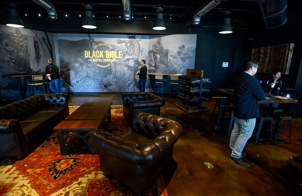 (Steve Griffin | The Salt Lake Tribune) The Black Rifle Coffee Company retail store in Salt Lake City Monday November 13, 2017.