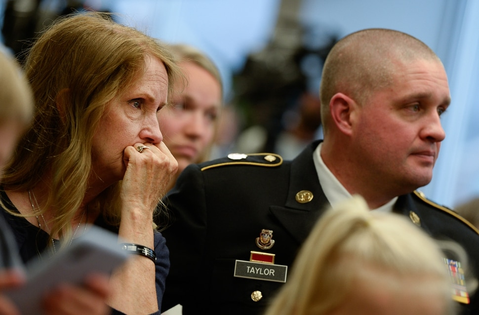 (Francisco Kjolseth | The Salt Lake Tribune) Major Brent Taylor's mother Tammy Taylor and her son Matthew, Brent's older brother, are moved by the vocal trio Gentri as they perform One as Brigham Young University honors the life and legacy of Major Brent Taylor, former mayor of North Ogden and a BYU Army ROTC alumnus during a ceremony at the Ernest L. Wilkinson Student Center in Provo on Thursday, May 23, 2019. The BYU Army ROTC updated their Memorial Wall, now containing 211 names of BYU students and alumni who have died in service.