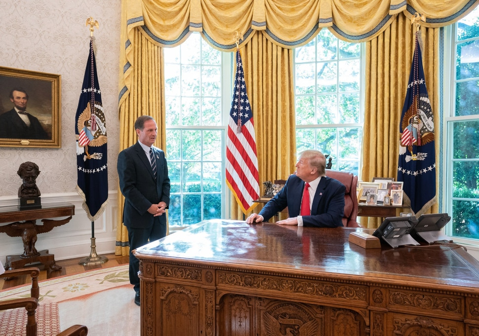 (Photo courtesy of the White House) Rep. Chris Stewart, R-Utah, posted this photo on Twitter on Nov. 5, 2019, saying he had recently met with President Donald Trump. He said they talked about the nation's
