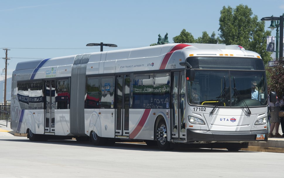 (Rick Egan | Tribune file photo) A UTA Utah Valley Express (UVX) bus on May 30, 2018.