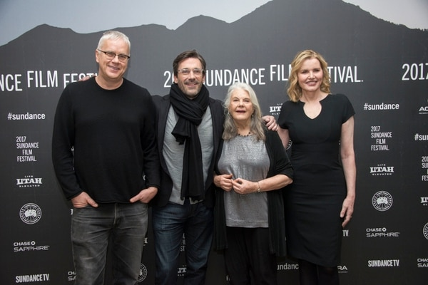 Actors, from left, Tim Robbins, Jon Hamm, Lois Smith and Geena Davis pose at the premiere of the film