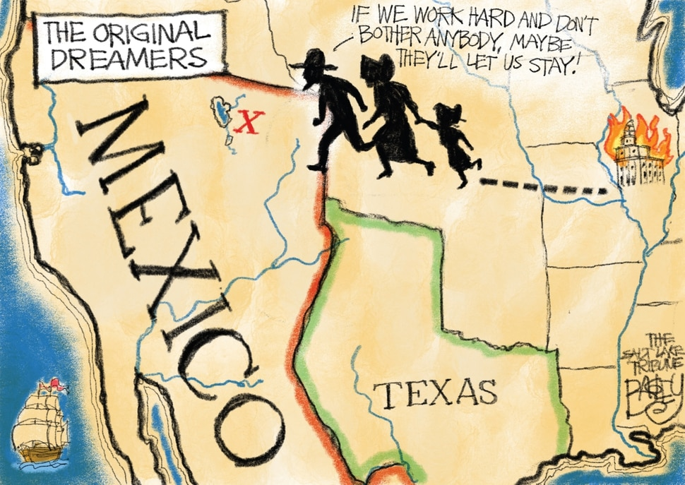 "This Pat Bagley cartoon, titled ""The Original Dreamers,"" appears in the Salt Lake Tribune Sunday, Jan. 28, 2018"