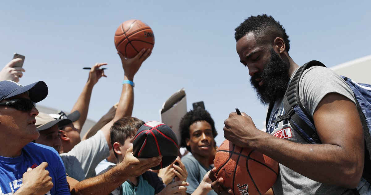 74a57c9d2256 James Harden laughs off talk that Rockets took a step back this summer
